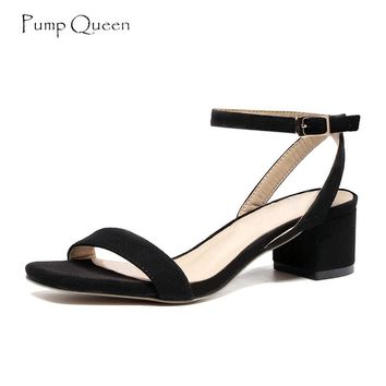 PumpQueen Sandals Women Purple Summer Ladies Shoes Woman Block Heels Pig Leather Insole Ankle Strap Zapatos Sandalias Mujer 2018
