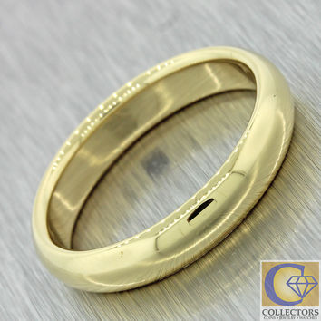 Tiffany & Co Vintage Estate 18k Solid Yellow Gold 4mm Wedding Band Ring