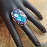 Rainbow Topaz Gemstone Ring Statement Ring  Size 9 Ring Topaz  Cocktail Ring Beaded Sterling Silver Ring Sterling Ring  Oversized Ring