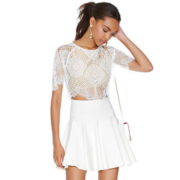 White Floral Crochet Eyelash Lace Short Sleeve Cropped Top