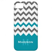 Stylish Teal and Grey Chevron Pattern iPhone 5 Case