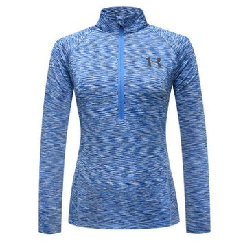DCCKL7H Under Armour Woman Zipper Sport Gym Yoga Running Long Sleeve Shirt Top Tee