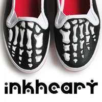 Skeleton Feet Handpainted Custom Shoes Womens by InkHeartKicks