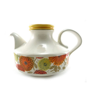 Bright vintage teapot  white yellow and orange by reconstitutions