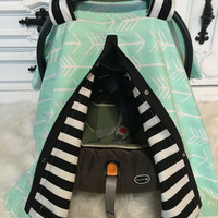Car seat canopy mint arrow black stripe