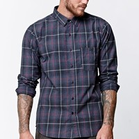 Ezekiel Long Sleeve Button Up Plaid Shirt - Mens Shirts - Black
