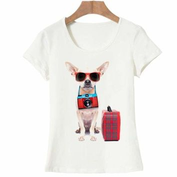 Travel puppy Women Girl T Shirt  Top Tee