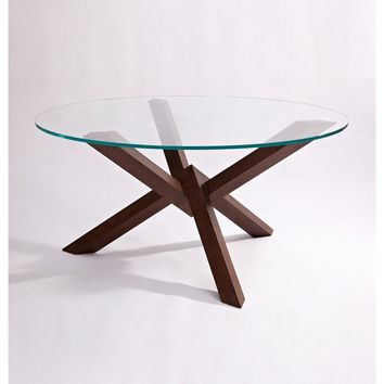 "Modern Walnut & Glass ""Grace"" Dining Table"