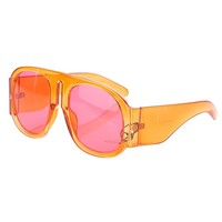 Orange Clear Rim OVERSIZED FASHION Sunglass