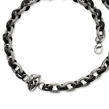 Men's Stainless Steel and Black Skull Necklace with Cubic Zirconia