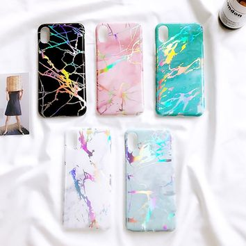 *HOLOGRAPHIC* Laser Marble Phone Case - For iPhone 6, 6Plus, 7, Plus, 8, 8 Plus, X
