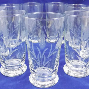 Etched Clear Glass Tumblers, 12 Ounce Etched Wheat Pattern Glasses, Set of 9