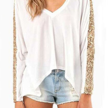 White V-Neck Sequined Long Sleeve Top
