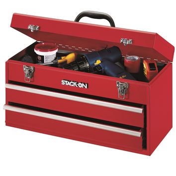 """Stack-On 20"""" 2 Drawer All Steel Portable Tool Chest - Red"""