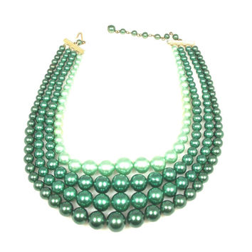 Vintage Four Strand Green Necklace Marked Japan