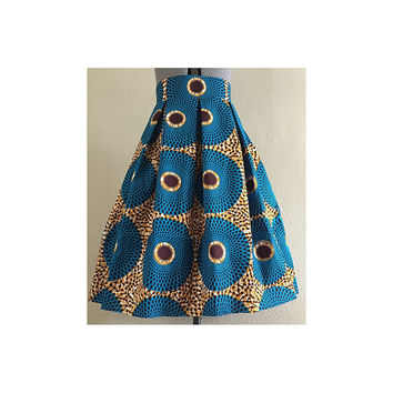 African Print Pleated Skirt