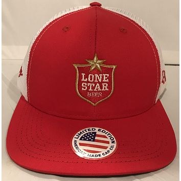 "Hooey LONE STAR BEER Hat Red White Trucker LS007 ""The National Beer of Texas."""