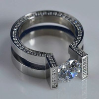 AMAZING 3.20CTW WHITE ROUND 925 STERLING SILVER ENGAGEMENT AND WEDDING RING