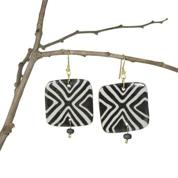 Handmade, Geometric Nerikomi Earrings; Squares; BLACK'n'WHITE