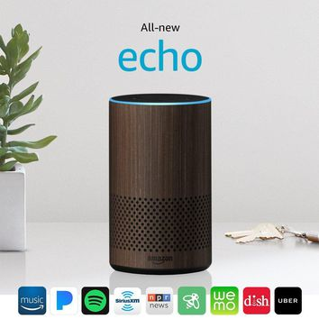 All-new Echo (2nd Generation) with improved sound, powered by Dolby, and a new design – Walnut Finish