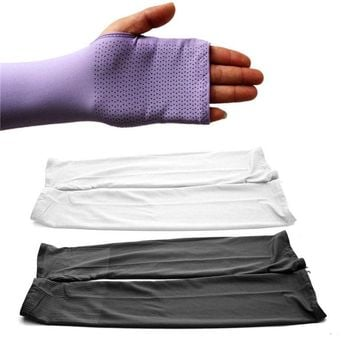 1 Pair Outdoor Sports Arm Cool UV Sun Protector Long Sleeves Gloves Golf Driving Cover(white)