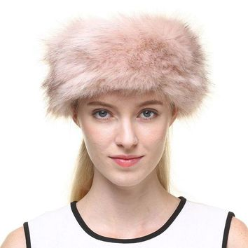 LMFN3C Vogueearth Women's Winter Faux Fur Earwarmer Earmuff Ski Hat Headband Light Pink