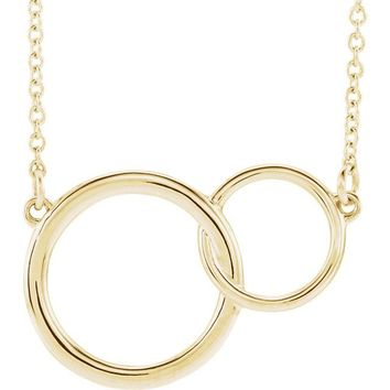 "14k Gold Interlocking Circle 16-18"" Necklace"