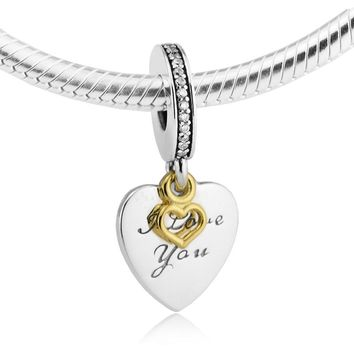 14K Real Gold Heart Charm 925 Sterling Silver Love You Forever Pendants Fit Bracelets & Necklace DIY for women fine jewelry