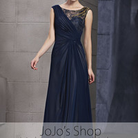 Navy Modest Sleeveless Formal Prom Military Ball Evening Cocktail Dress CX830106
