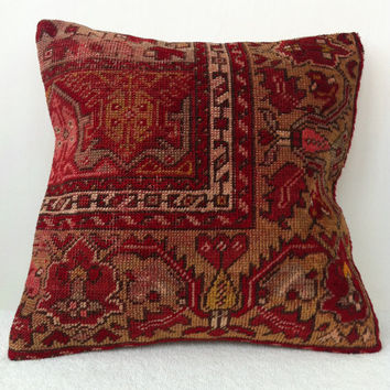Hand Woven Turkish Old Rug Pillow - Modern Bohemian Home Decor - Decorative Pillow - Kilim  Pillow  16 x 16 Inch - FAST SHIPMENT