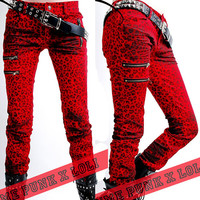 Red Animal Print Punk Rock Emo Clothing Leggings Pants Websites SKU-11404054