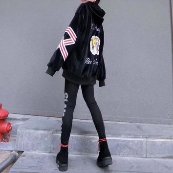 """Gucci"" Women Fashion Velvet Letter Tiger Head Pattern Hooded Long Sleeve Sweater Leggings Set Two-Piece Sportswear"