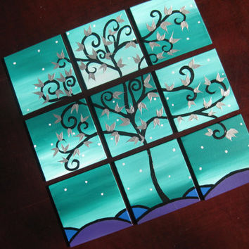 green and purple with blue tree of life painting paintings art with silver leaves black and grey snow branch leaves small set of pictures