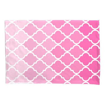 Pink Sunrise Quatrefoil Pillowcase, Standard Size Pillowcase