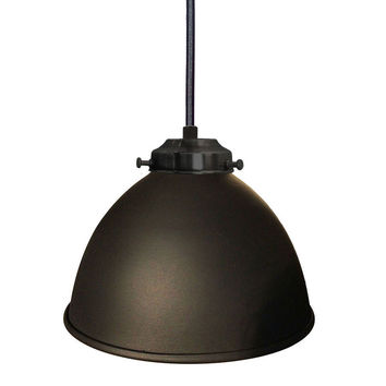 "Factory 7 1/16"" Metal Shade Pendant Light- Black"