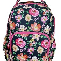 Canvas Backpack | Navy Floral