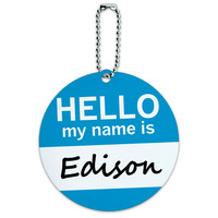 Edison Hello My Name Is Round ID Card Luggage Tag