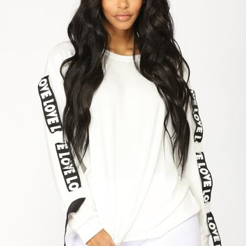 What Is Love Long Sleeve Top - White