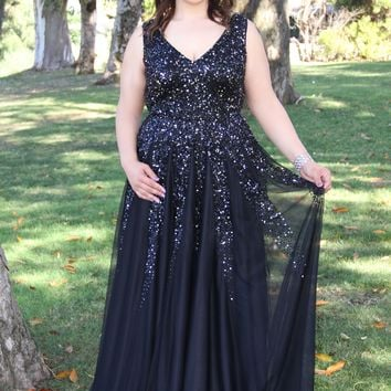 Plunging Neckline Low Back Sequin Dress Prom Dress 12134W