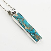 Blue Copper Turquoise Sterling Silver Oblong Pendant
