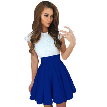 2017 New Summer Womens Lace cute Party dress with sashes Cocktail Mini Dress Ladies Summer Short Sleeve Skater Dresses vestidos