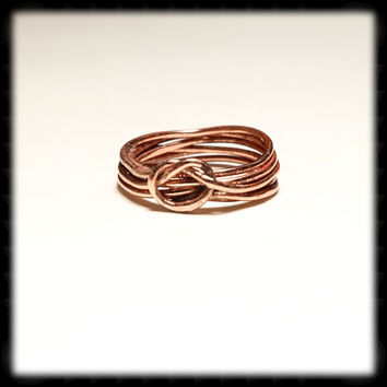 Twisted Copper Love Knot Ring - 16 gauge wire