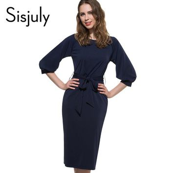 Sisjuly sexy causal dress spring bodycon summer solid women work dress royal blue knee-length dresses o-neck office causal dress