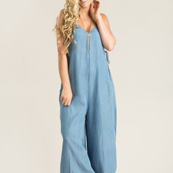 Penny Denim Lace Up Jumpsuit