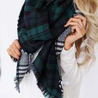 Plaid/Hounds Tooth Scarf- Green
