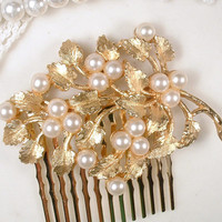 Gold Leaf Pearl Bridal Hair Comb, True Vintage TRIFARI Brooch Brushed Rose Gold Wedding Headpiece, Keepsake Hair piece, Rustic Chic Country