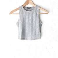 Sleeveless Ribbed Crop Top - Heather Grey