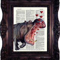 Hippo and Hearts. Dictionary art print. Vintage Art Print on Book Page. Hippo Art print. Wall art. Decor.  Dictionary print. Code:508