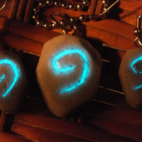 Glow In The Dark WoW Hearthstone Necklace and Earring Set