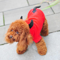 Devil Dog Cosplay Clothes, Teddy Poodle Autumn Winter Pet Clothes Coral Fleeceturns Cute Red Devil, Free Shipping